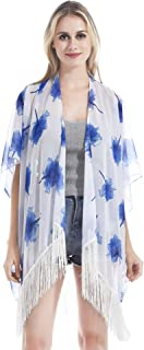 Hifand Women Kimono Cardigan Tassel Vintage Floral Beach Cover up