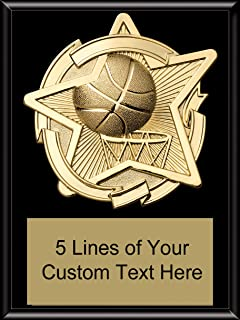 Express Medals 8 x 10 Black Finish Basketball Star Plaque Trophy Award with Custom Engraved Personalized Text