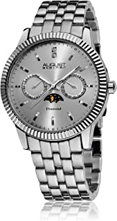 August Steiner Men's Dressy Coin Edge Bezel Diamond Watch - Sunburst Dial with Day of Week and Date Subdial on Band - Sun ...