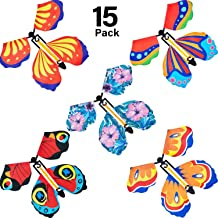 15 Pieces Magic Fairy Flying Butterfly Rubber Band Powered Wind up Butterfly Toy for Surprise Gift or Party Playing