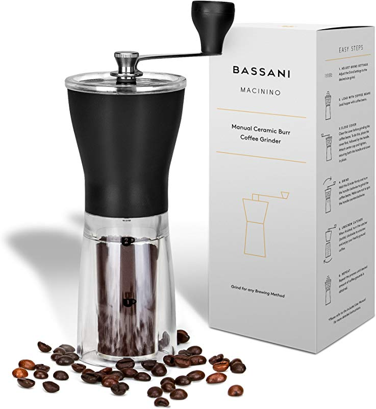 Manual Ceramic Burr Coffee Bean Grinder Macinino By Bassani Ceramic Conical Adjustable Burr Assembly For Precision Brewing