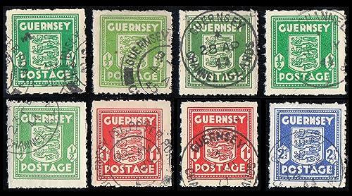 Goldhahn Deutsche Besetzung Guernsey Nr. 1a, b,c,d (geprüft), f (geprüft), Nr. 2au,av + Nr. 3a gestempelt Briefmarken für Sammler