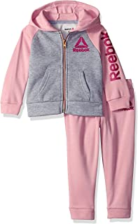 Girls' Toddler Spun Poly Fleece Color Block Hooded Jacket and Jog Pant