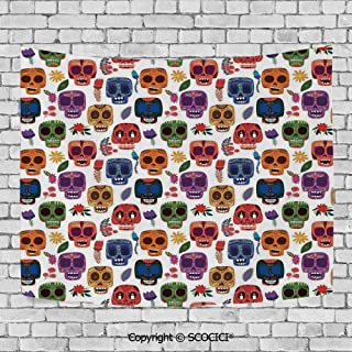 SCOCICI Fashionable Personality Tapestry Home Decoration Background Elastic Living Room,Day of The Dead Decor,African Tribal Wooden Scary Mask with Cartoon Funny Details Art Print,Multicolor