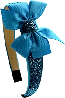Girls Sparkle Glitter Arch Headband with Grosgrain Bow By Funny Girl Designs