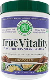Green Foods True Vitality Plant Protein Shake with DHA Chocolate -- 25.2 oz