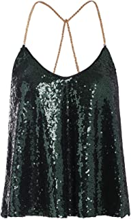 Verdusa Women's Spaghetti Straps Sequin Sparkle Tank Top Vest Tops