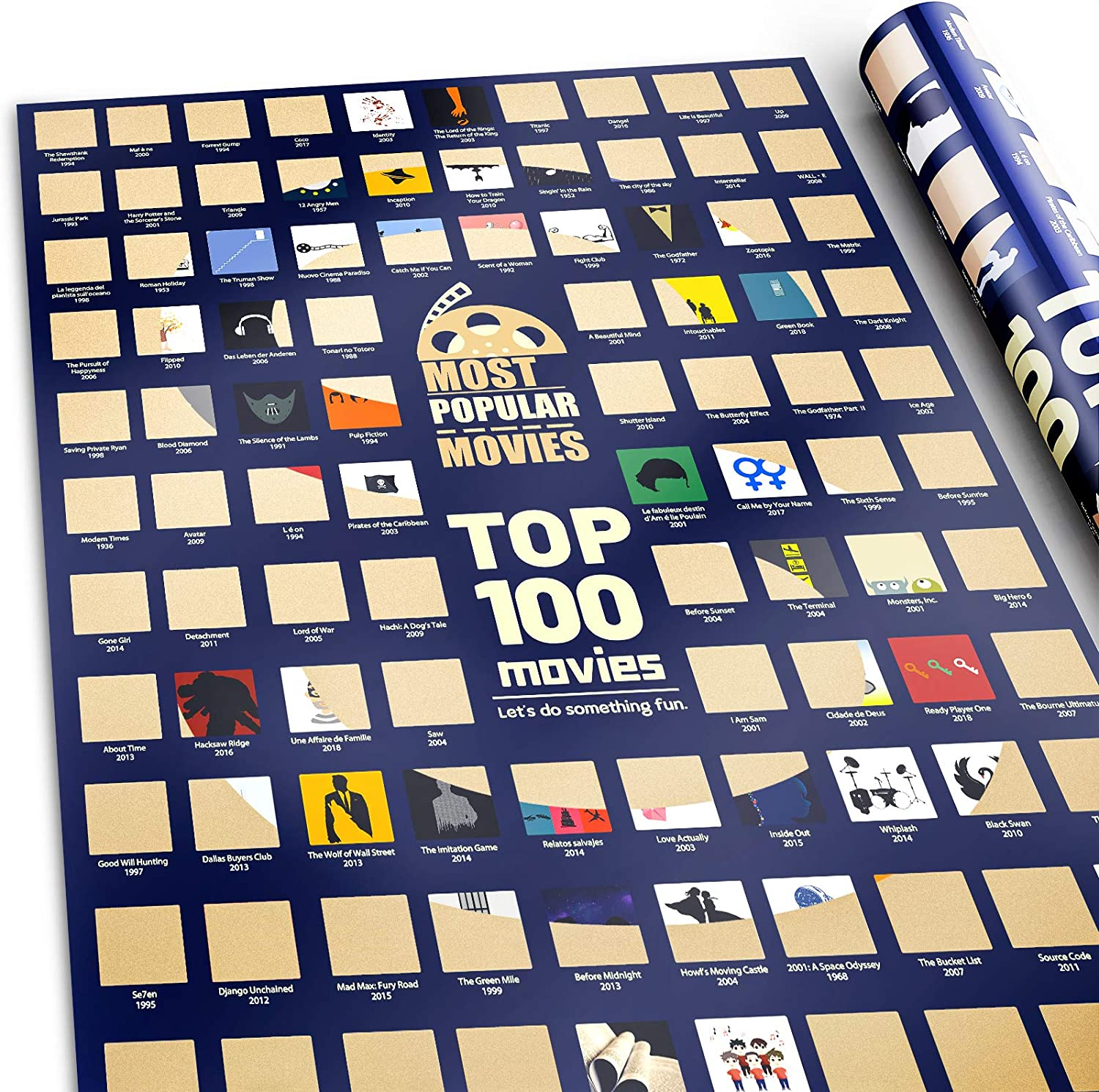 1. 100 Movies Scratch Off Movie Poster