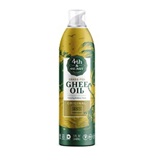 Original High Heat Cooking Oil Spray by 4th & Heart | Blend of Grass-fed Ghee, Avocado, and Grapeseed Oils | Non-GMO Verified | Keto-friendly, Certified Paleo, Lactose Free | 5 ounce