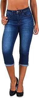 ESRA Pantacourt Femme Jean Capri Pantalon Jeans pour Femmes à Grandes Tailles J740