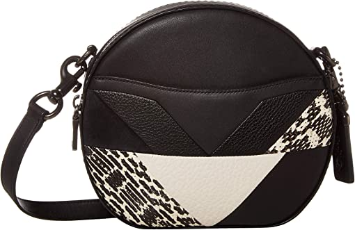 COACH Patchwork Snake Canteen Crossbody,Black