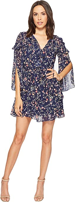 Printed Chiffon Dress with Petal Sleeve and Ruffle Details