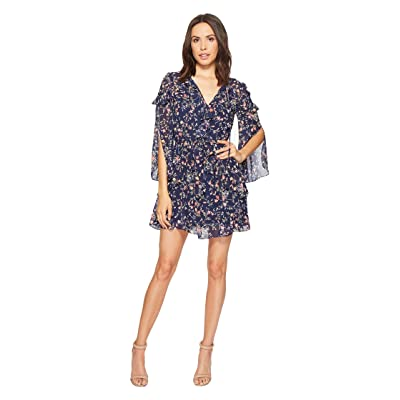 Laundry by Shelli Segal Printed Chiffon Dress with Petal Sleeve and Ruffle Details (Midnight) Women