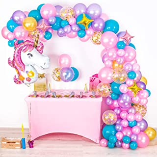 Shimmer and Confetti Premium 16 foot Unicorn Balloon Arch and Garland Kit - Giant Unicorn, Pump, Gold Confetti, Strip. Pink Purple Aqua. Unicorn Party Supplies for Birthdays & Baby Showers