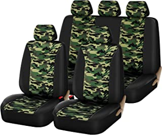 PIC AUTO Universal Low Back Full Set Car Seat Covers, Camouflage Twill Poly Fabric, Split Bench and Airbag Compatible Fit Most Cars Trucks SUVs & Vans (9PCS)