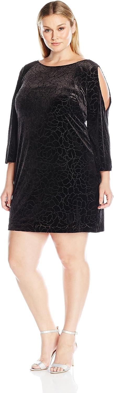 Adrianna Papell Women's Plus Size Cold Shoulder Floral Burnout Velvet Shift