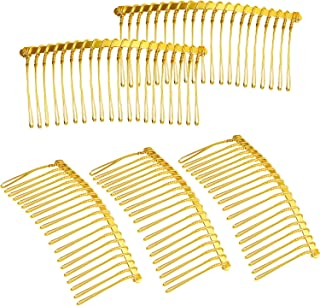 10 Combs hair 78mm colour gold gilt