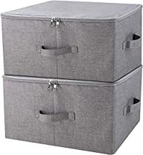 iwill CREATE PRO Folding Storage Box with Zip Lid and Handles, Storage Basket with Linen Fabric, Closet Shelf Drawers,Dark Gray, 2 pcs