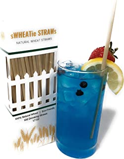 All-natural compostable Wheat Hay Straws for drinking - Tall 100 pack, single-use, disposable, biodegradable and eco-friendly. A great alternative to plastic, paper, silicone and metal