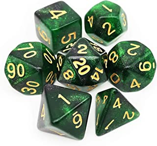 Haxtec Glitter DND Dice Set 7PCS Polyhedral D&D Nebula Dice for Roleplaying Dice Games as Dungeons and Dragons (Green Black Nebula)