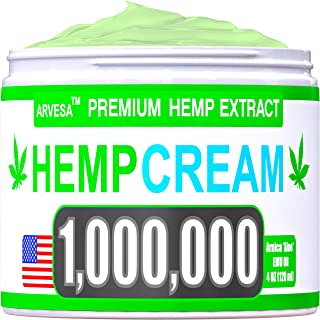 Instant Hemp Cream - 1,000,000 - Made in USA - Relieves Muscle, Foot, Shoulder, Joints and Back - Natural Hemp Oil Extract Gel with MSM - Glucos?min? - Arnica - Turmeric - 4oz