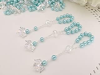 25 Pc Light Blue Color Baptism Favors with Angels Mini Rosaries Silver Plated Blue Crystal Pearls/ Recuerditos De Bautismo/ Christening Favors/ Decenarios/ Decades/ Finger Rosaries