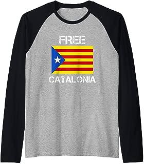Free Catalonia - Catalan Independence Movement T-Shirt White Raglan Baseball Tee