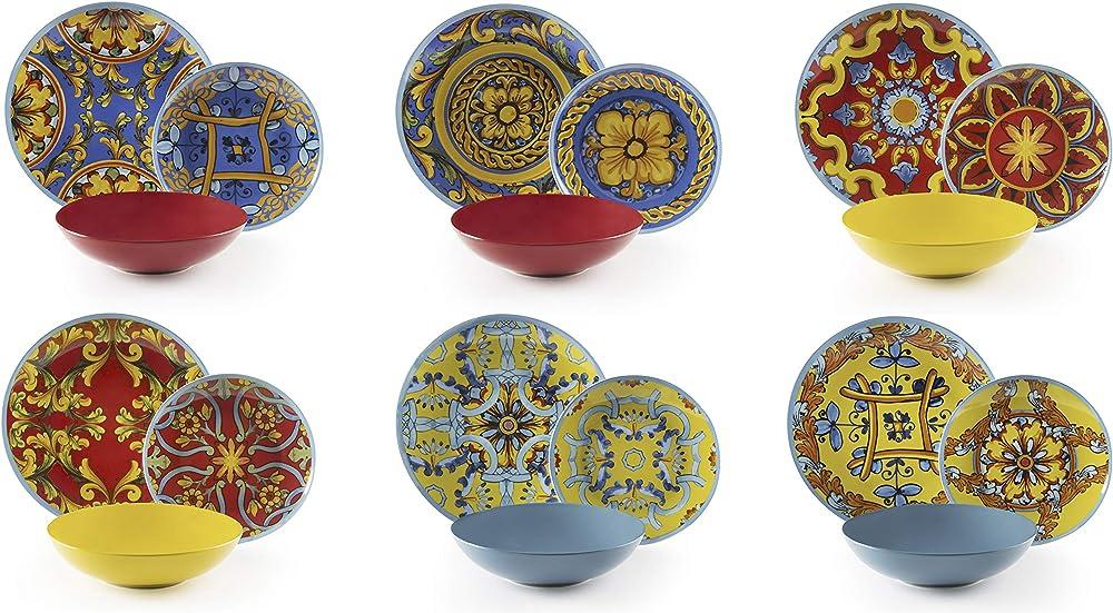 Excelsa trinacria,  servizio di  piatti , 18 pezzi, in porcellana e ceramica 64427