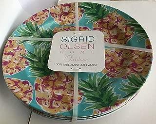 Sigrid Olsen Home Outdoor Set 4 Melamine Dinner Plates Summer Pineapple