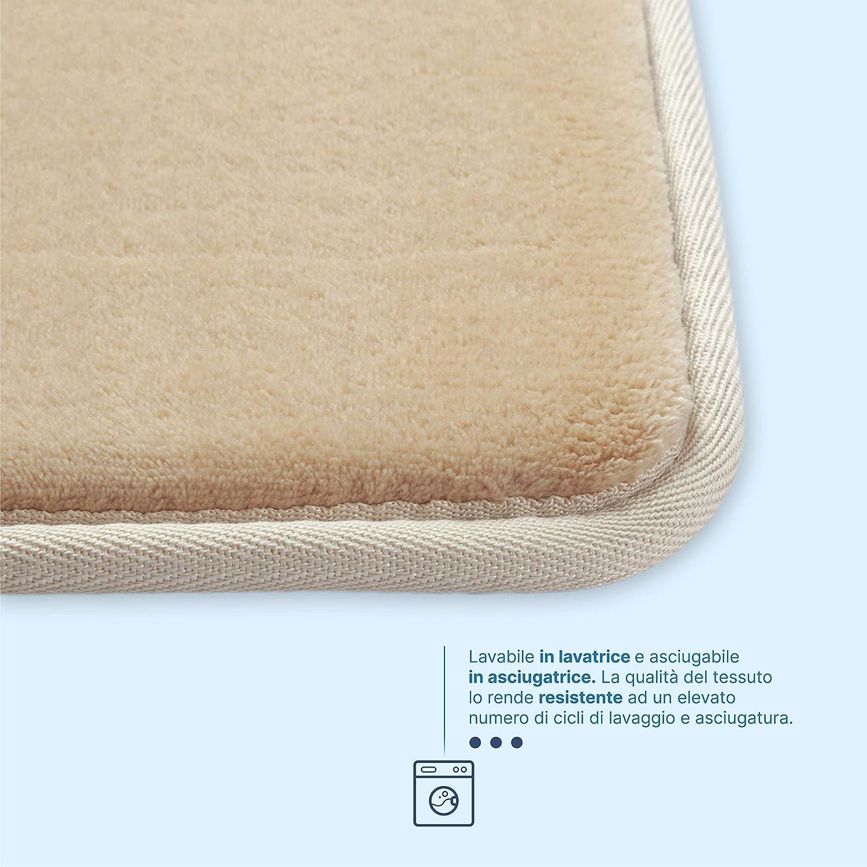 Beige Tappeto Bagno Memory Foam 43x61cm Antiscivolo Facile da Lavare Scendi Doccia Assorbe Velocemente Resistente Soffice Morbido Tappetino Bagno Microfibra