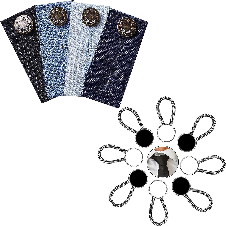 Denim Waist Extender Button and 8 Pieces White & Black Collar Extenders.