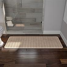 BH Memory Foam Striped Extra Long Bath Mat - Taupe - 24x60