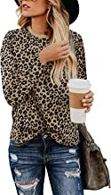 SHIBEVER Women's T Shirts Leopard Print Long Sleeve Tops Casual Cute Round Neck Side Twist Knotted Blouses Tunics Outfits