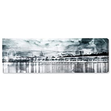 Rivet Shades of Grey Watercolor Cityscape Canvas Print Black and White Wall Art, 30  x 10