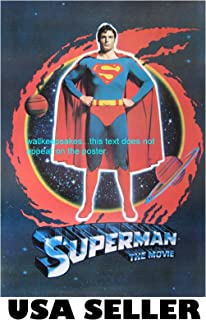 Superman 1978 first movie RARE long OOP POSTER 21x30 with Christopher Reeve (sent FROM USA in PVC pipe)