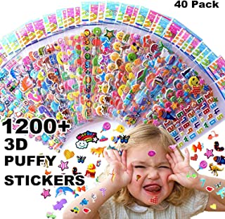 Kids Stickers 1200+, 40 Different Sheets, 3D Puffy Stickers for Kids, Bulk Stickers for Girl Boy Birthday Gift, Scrapbooking, Teachers, Toddlers, Including Animals, Stars, Fishes, Hearts and More