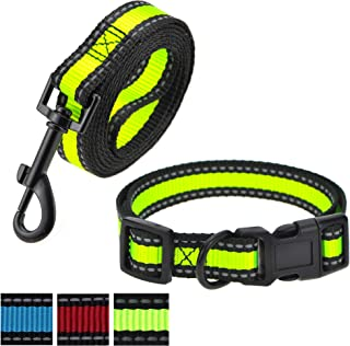 Mile High Life Dog Leash or (Leash/Collar) Combo Pack | RED Blue Green | Reflective 3M Stripe with Nylon Band