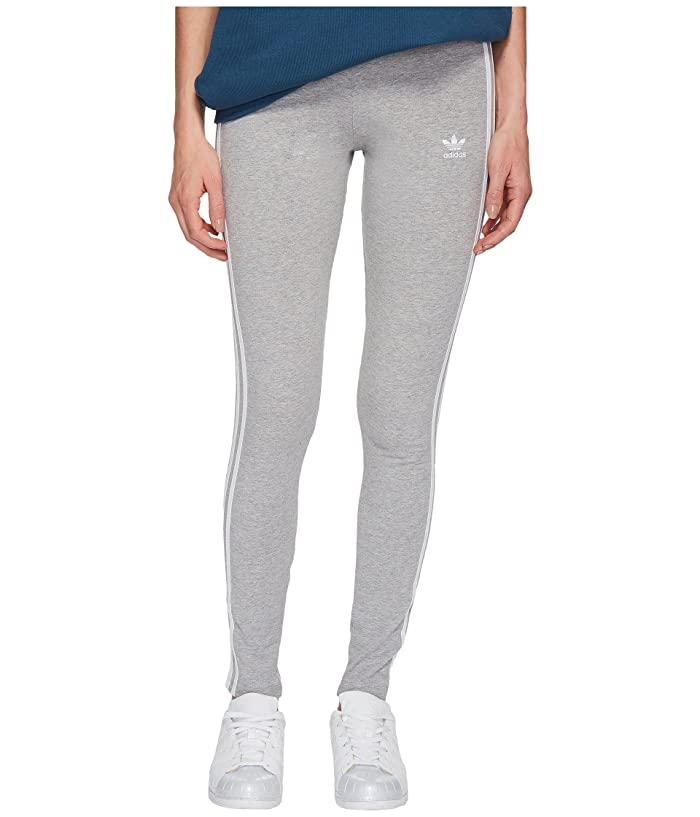 adidas Originals  3 Stripes Tights (Medium Grey Heather) Womens Workout