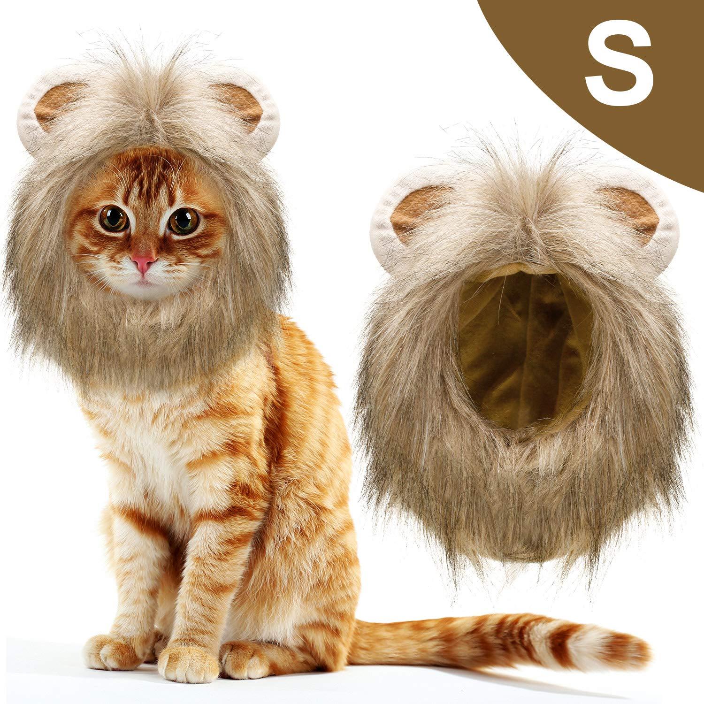 1 Pieza Gato León Traje de Melena Mascota de Disfraces Peluca de Melena De León Mascotas Sombrero Vestido de Disfraces Halloween Accesorios con Orejas para Gatos Pequeños Medianos Grandes (S): Amazon.es: Productos