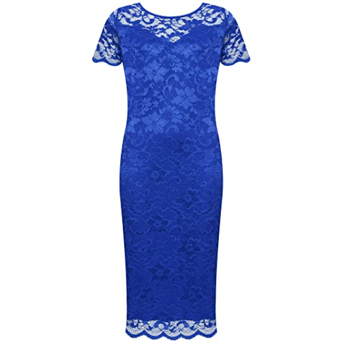 e42fa66e84d WearAll Plus Size Womens Lace Lined Ladies Short Sleeve Bodycon Midi Dress  - 14-28