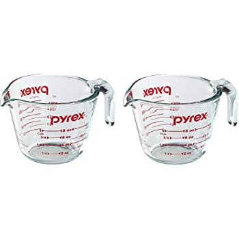 Pyrex Prepware 1 Cup Measuring Cup with Red Graphics (Pack of 2)