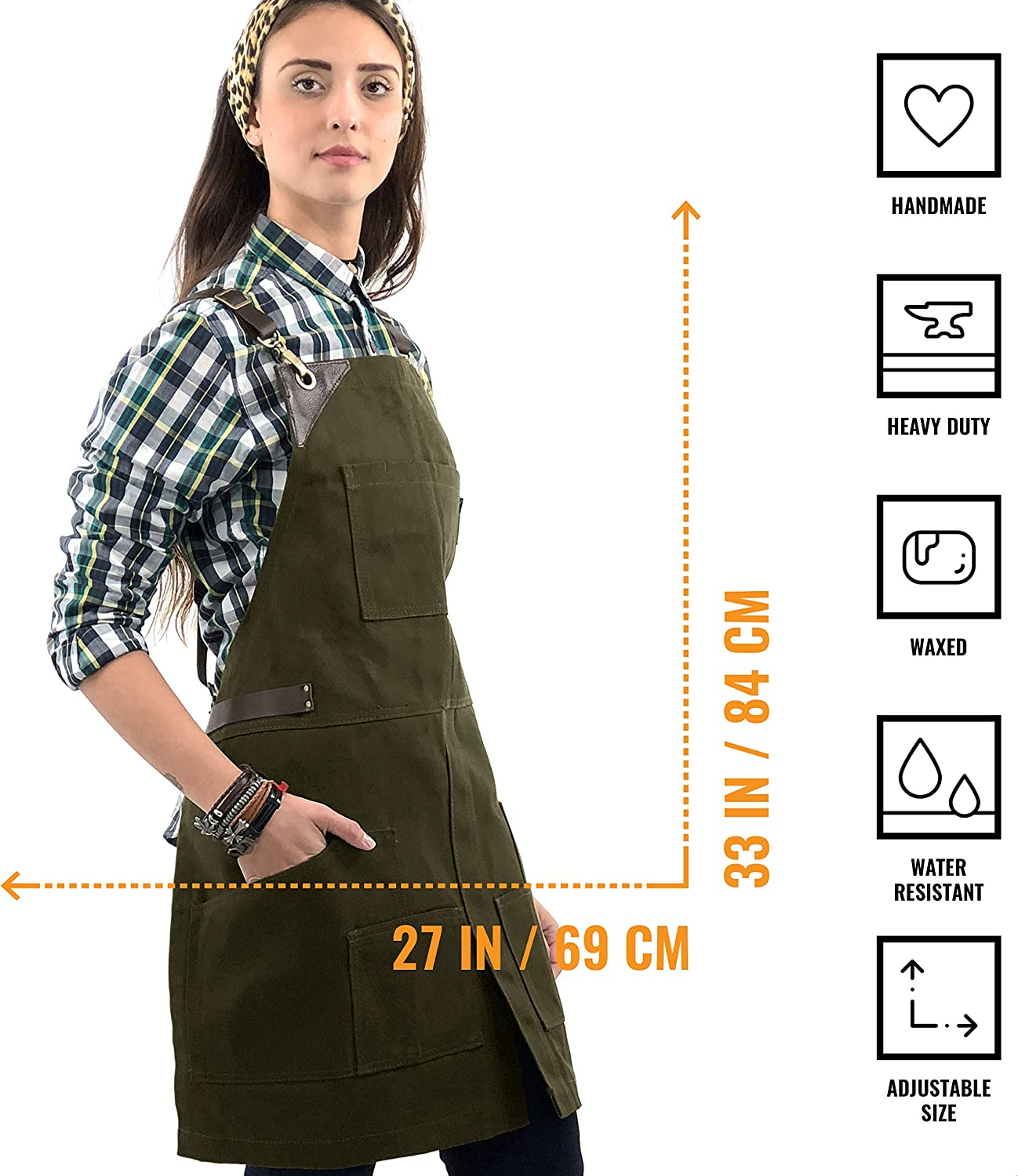 Buy Under NY Sky Cargo Green Apron – Cross Back with Leather ...