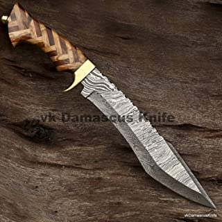 JNR Traders Handmade Damascus Steel Hunting Bowie Knife with Rose and Olive Wood Handle vk3072