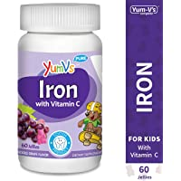 60-Count YUM-V's Grape Flavor Chewables Iron Jellies/Gummy Bears for Kids with Vitamin C
