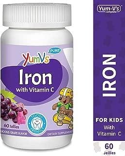 YUM-V's Iron Jellies/Gummy Bears for Kids w/Vitamin C, Grape Flavor Chewables; Daily Dietary Supplement for Children, Vegan, Kosher/Halal, Gluten Free (60 Ct)