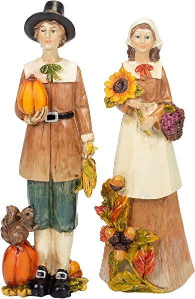 Delton Pilgram 夫妇有丰富的收获和松鼠 10X4 英寸树脂石桌面雕像 2 件套