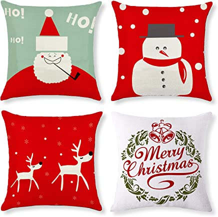 Augshy 4 Pack Merry Christmas Throw Pillow Case Decorative Cushion Cover Pillowcase Cushion Case for Sofa Bed Chair