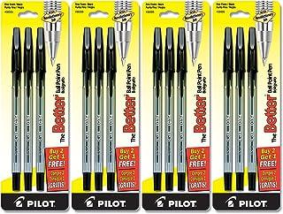 Pilot Better Ball Point Stick Pen, Black Ink.7mm, Dozen