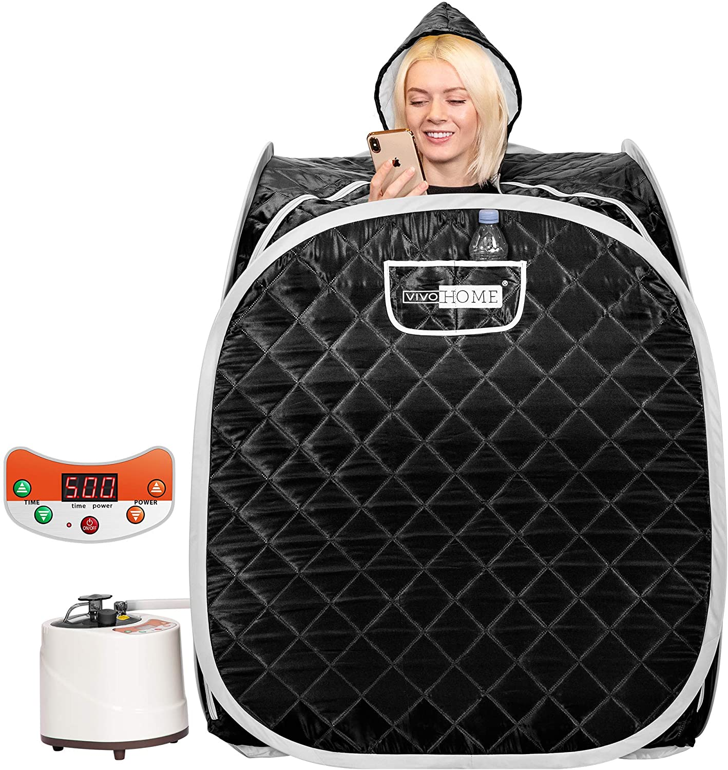 VIVOHOME Portable Personal Steam Sauna Spa with 2L 900 Watt Steamer, 9 Temperature Levels, 99 Minutes Timer, Remote Control, Foldable Chair, Carrying Bag Folding Home Therapeutic Sauna Spa Tent Black