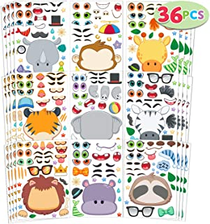 JOYIN 36 PCS Make-a-face Sticker Sheets Make Your Own Safari Animal Mix and Match Sticker Sheets with Safaris Animals Kids...